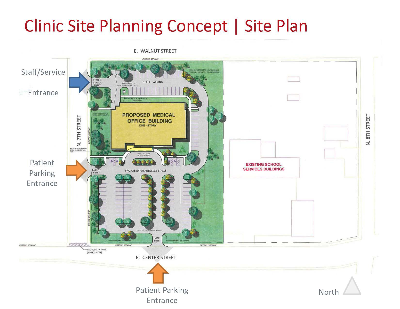 Memorial hospital selects building site memorial for New building design plan